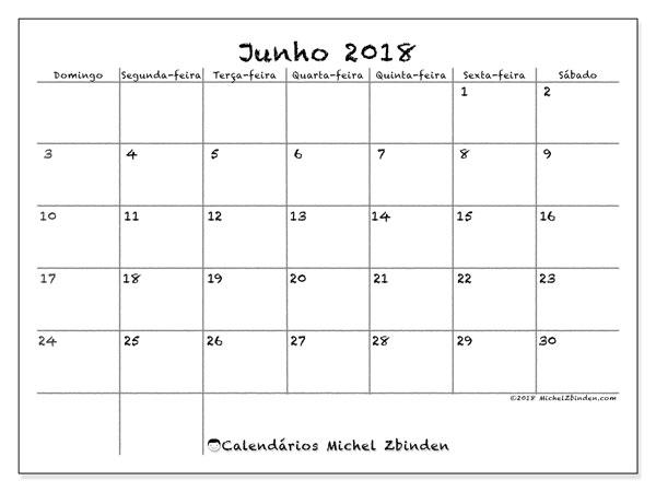 Calendário  junho de 2018, 77DS
