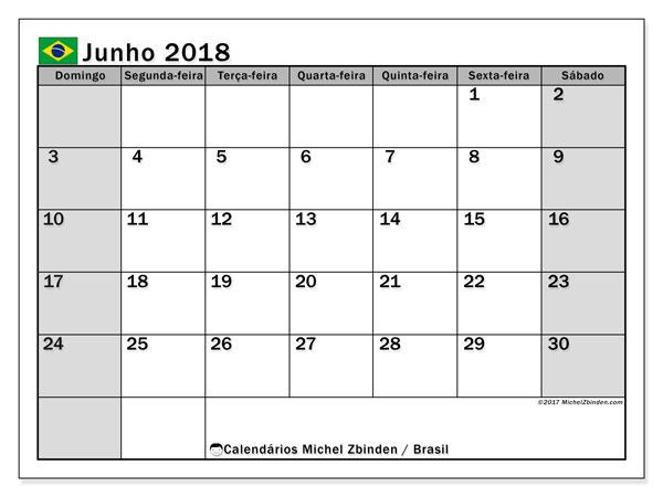 Calendário em junho  de 2018, com feriados públicos do Brasil. Calendário para imprimir livre.
