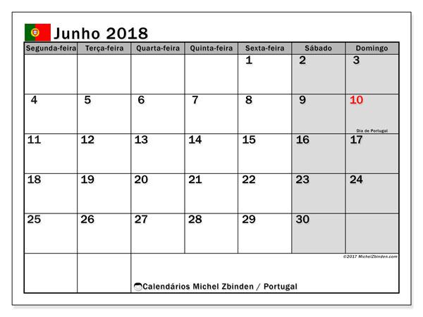 Calendário em junho  de 2018, com feriados públicos em Portugal. Calendário gratuito para imprimir.