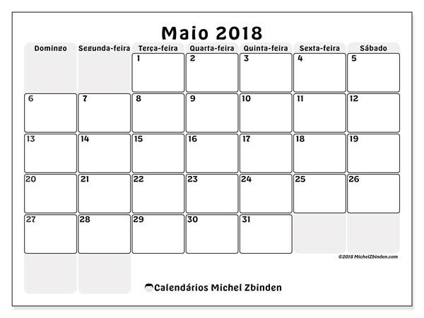 Calendário  maio de 2018, 44DS