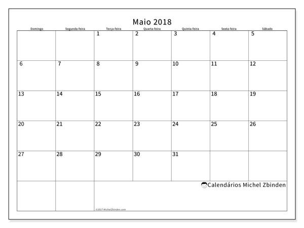 Calendário  maio de 2018, 53DS