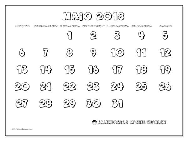 Calendário de maio  de 2018 (56DS). Horário para imprimir livre.