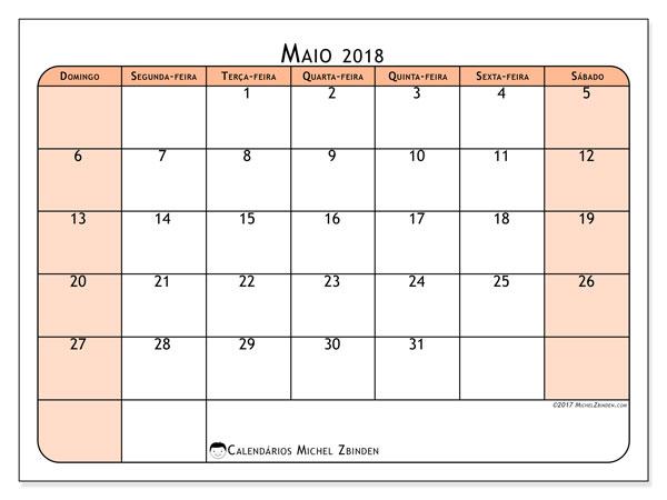 Calendário de maio  de 2018 (61DS). Calendário para o mês para imprimir livre.