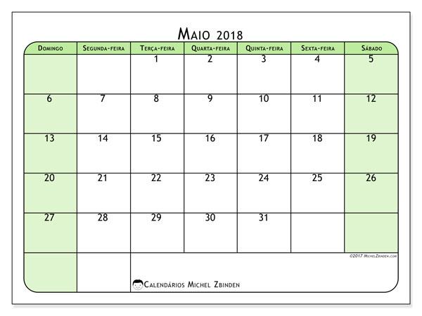 Calendário de maio  de 2018 (65DS). Calendário gratuito para imprimir.