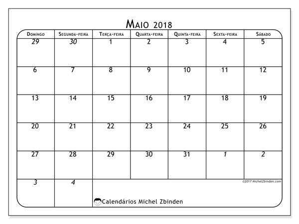 Calendário  maio de 2018, 67DS