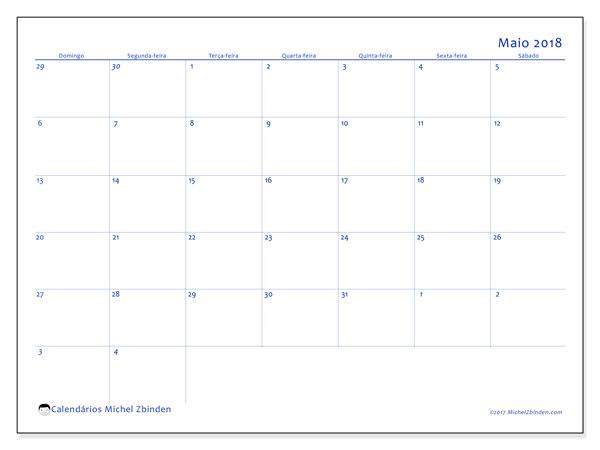Calendário de maio  de 2018 (73DS). Calendário mensal para imprimir gratuitamente.