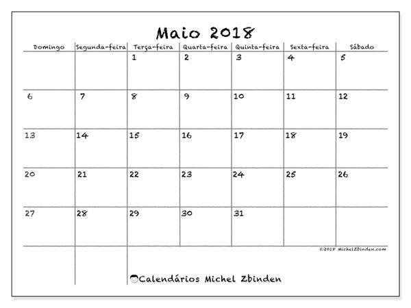 Calendário  maio de 2018, 77DS