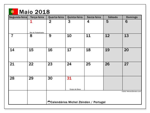 Calendário em maio  de 2018, com feriados públicos em Portugal. Horário para imprimir livre.
