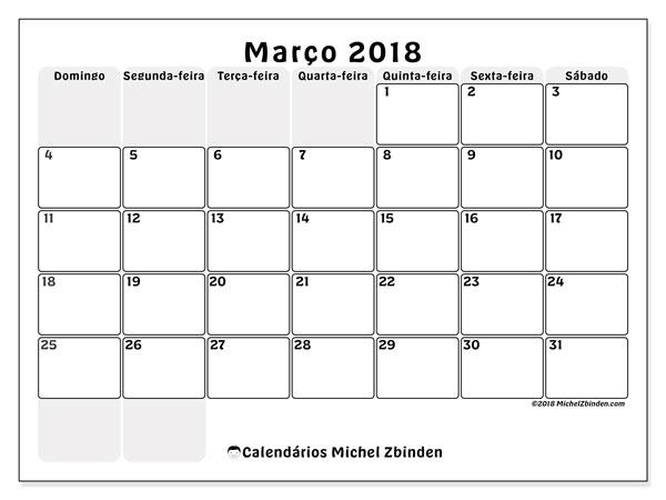 Calendário de março  de 2018 (44DS). Agenda para imprimir livre.