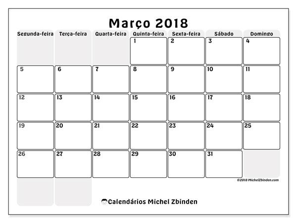 Calendário de março  de 2018 (44SD). Calendário para o mês para imprimir livre.