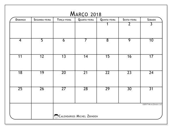 Calendário de março  de 2018 (51DS). Agenda para imprimir livre.
