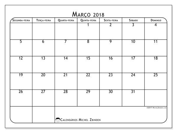 Calendário de março  de 2018 (51SD). Calendário gratuito para imprimir.