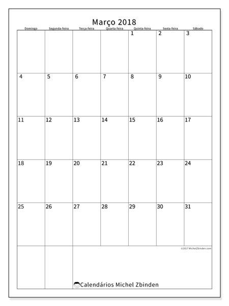 Calendário de março  de 2018 (52DS). Calendário para imprimir livre.