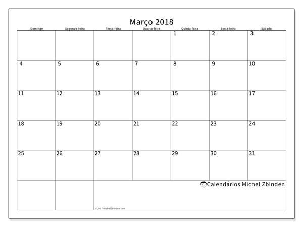 Calendário de março  de 2018 (53DS). Calendário para imprimir livre.