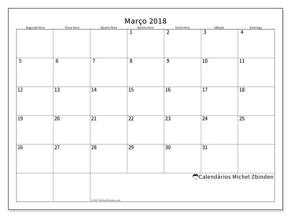 Calendário de março  de 2018 (53SD). Calendário mensal para imprimir gratuitamente.