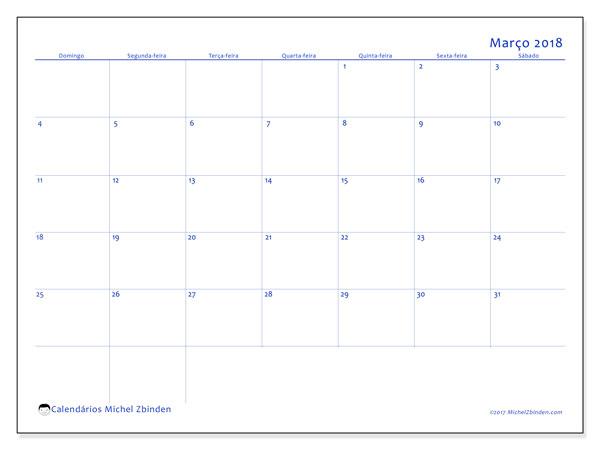 Calendário de março  de 2018 (55DS). Calendário mensal para imprimir gratuitamente.