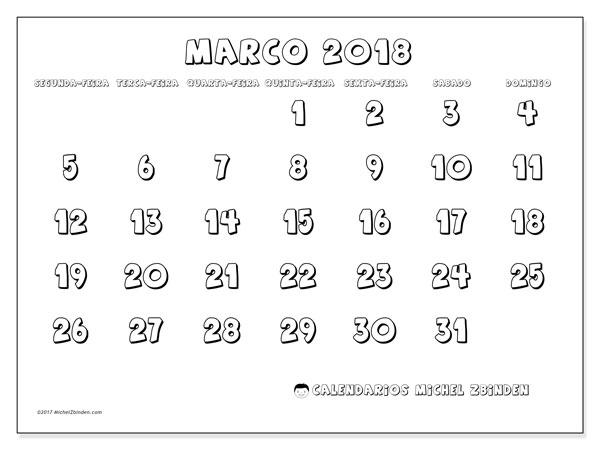 Calendário de março  de 2018 (56SD). Calendário para o mês para imprimir livre.
