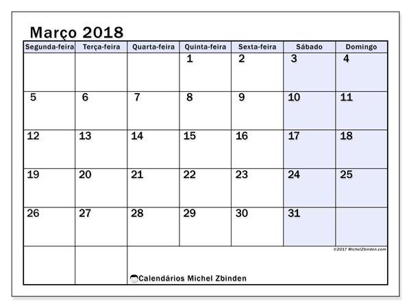 Calendário de março  de 2018 (57SD). Horário para imprimir livre.