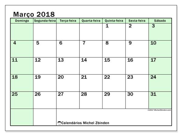 Calendário de março  de 2018 (60DS). Calendário para imprimir gratuitamente.