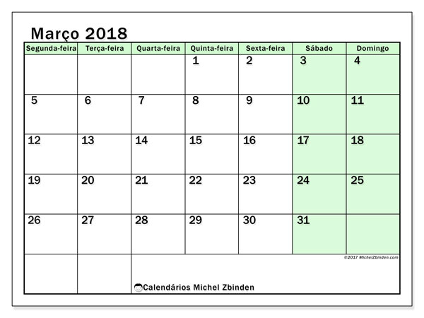 Calendário de março  de 2018 (60SD). Calendário para o mês para imprimir livre.