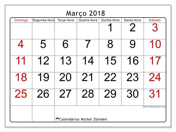 Calendário de março  de 2018 (62DS). Agenda para imprimir livre.