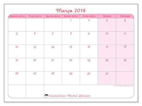 Calendário de março  de 2018 (63SD). Calendário gratuito para imprimir.