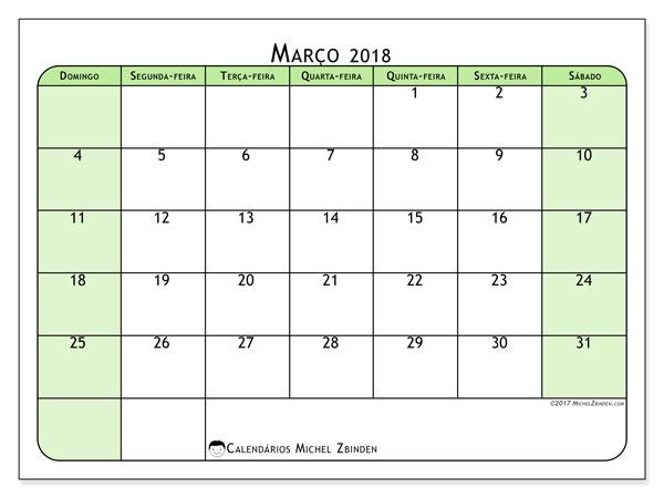 Calendário de março  de 2018 (65DS). Agenda para imprimir livre.