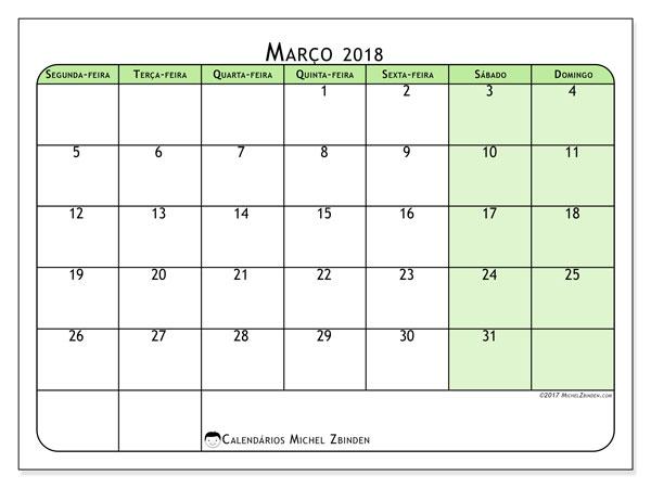 Calendário de março  de 2018 (65SD). Horário para imprimir livre.