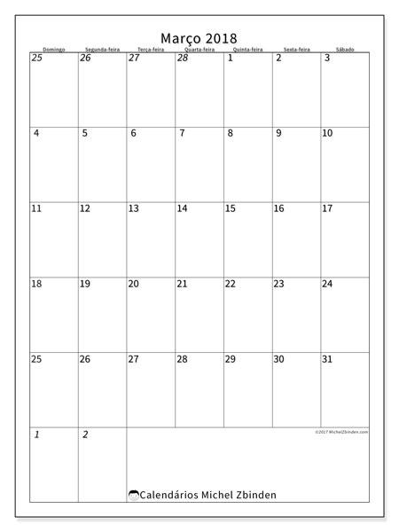 Calendário de março  de 2018 (68DS). Agenda para imprimir livre.