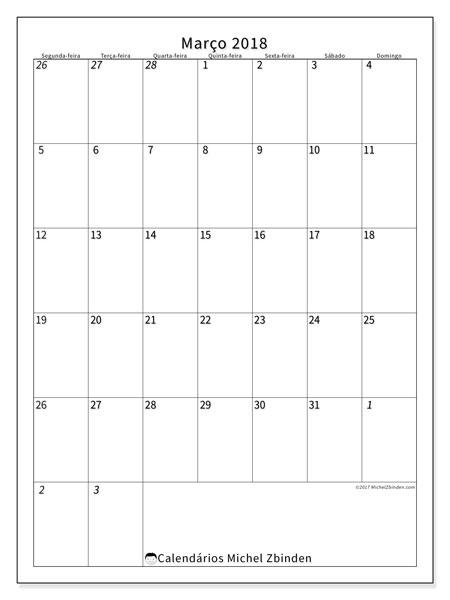Calendário de março  de 2018 (68SD). Calendário para imprimir livre.