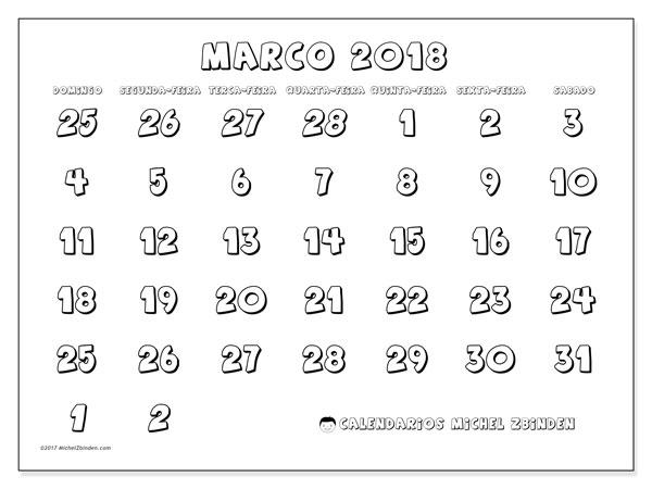 Calendário de março  de 2018 (71DS). Horário para imprimir livre.