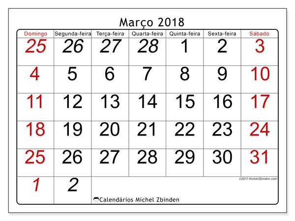 Calendário de março  de 2018 (72DS). Horário para imprimir livre.