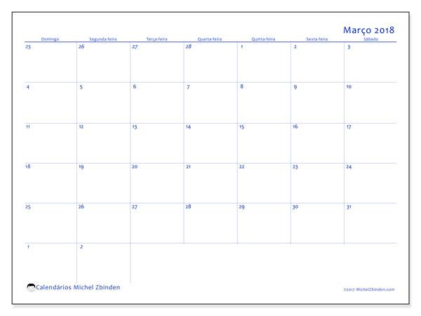 Calendário de março  de 2018 (73DS). Calendário gratuito para imprimir.