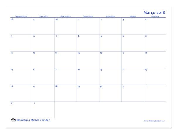Calendário de março  de 2018 (73SD). Calendário para o mês para imprimir livre.