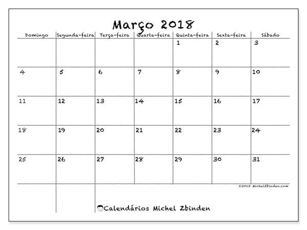 Calendário de março  de 2018 (77DS). Calendário gratuito para imprimir.