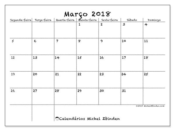 Calendário de março  de 2018 (77SD). Agenda para imprimir livre.