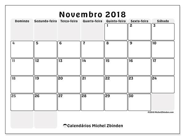 Calendário de novembro  de 2018 (44DS). Agenda para imprimir livre.