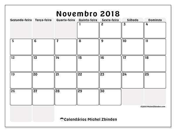 Calendário de novembro  de 2018 (44SD). Calendário mensal para imprimir gratuitamente.