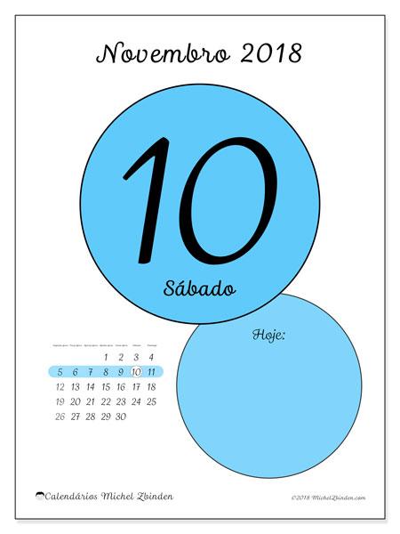 Calendário de novembro  de 2018 (45-10SD). Calendário para o dia imprimir grátis.