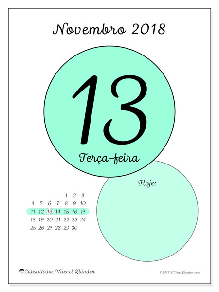 Calendário de novembro  de 2018 (45-13DS). Calendário diário para imprimir gratuitamente.