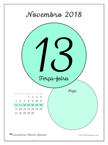 Calendário de novembro  de 2018 (45-13SD). Calendário para o dia imprimir grátis.