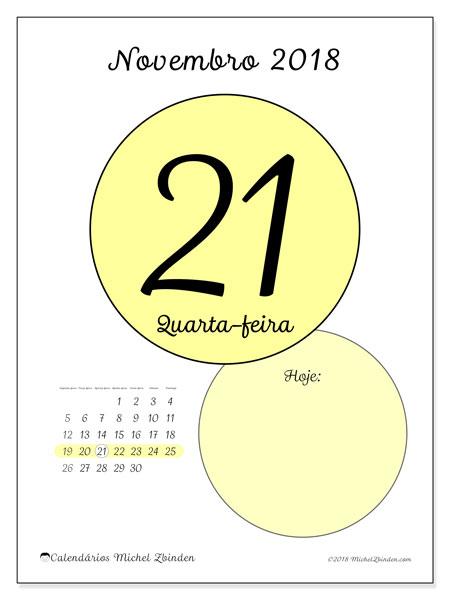 Calendário de novembro  de 2018 (45-21SD). Calendário para o dia imprimir grátis.