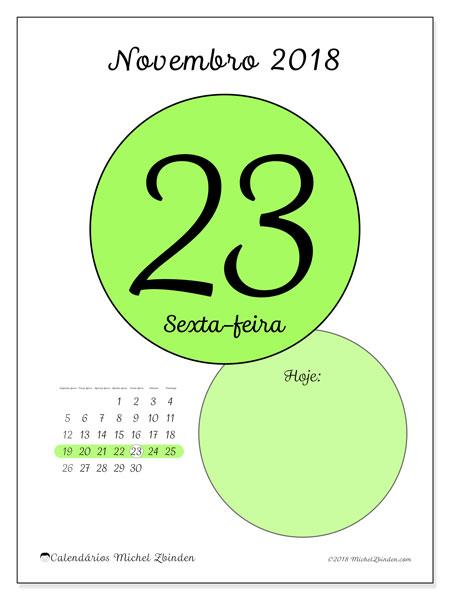 Calendário de novembro  de 2018 (45-23SD). Calendário para o dia imprimir grátis.