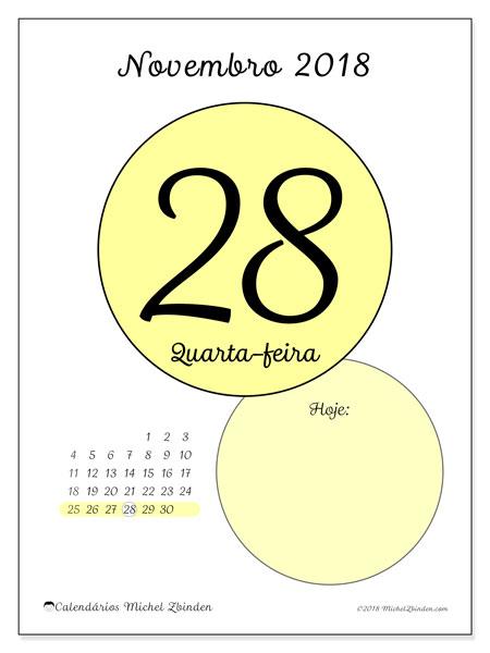 Calendário de novembro  de 2018 (45-28DS). Calendário para o dia imprimir grátis.