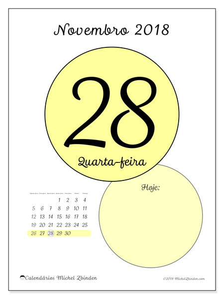 Calendário de novembro  de 2018 (45-28SD). Calendário diário para imprimir gratuitamente.