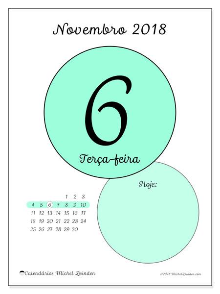 Calendário de novembro  de 2018 (45-6DS). Calendário para o dia imprimir grátis.