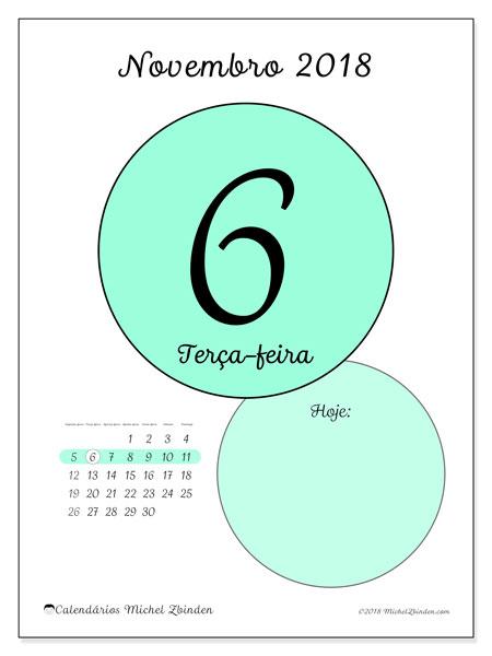 Calendário de novembro  de 2018 (45-6SD). Calendário para o dia imprimir grátis.