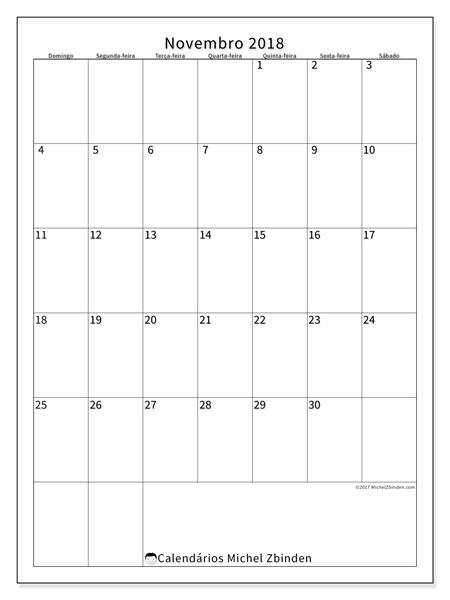 Calendário de novembro  de 2018 (52DS). Calendário mensal para imprimir gratuitamente.