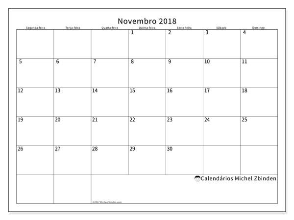 Calendário de novembro  de 2018 (53SD). Agenda para imprimir livre.
