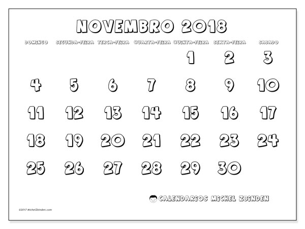 Calendário de novembro  de 2018 (56DS). Agenda para imprimir livre.